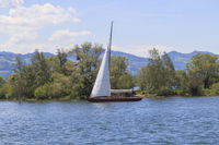 Sailboat on Lake Constance, near the Rhine delta, Austria, Scenery