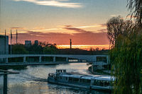 sunset over the spree river in Berlin