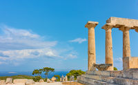 Temple of Aphaea in Aegina Island and sea