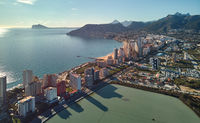 Calpe cityscape panoramic aerial view, Spain
