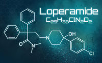 Chemical formula of Loperamide on a futuristic background