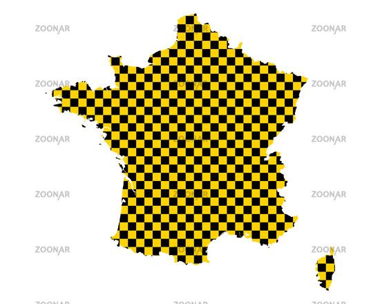 Karte von Frankreich in Schachbrettmuster - Map of France in checkerboard pattern