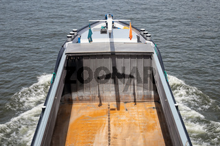 Aerial view empty cargo deck sailing barge in the Netherlands