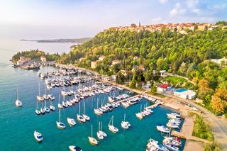 Town of Omisalj on Krk island aerial panorama