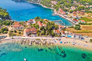 Aerial view of Prizba beach on island Korcula