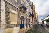 Lisbon Portugal, city skyline of local street at Lisbon Baixa district