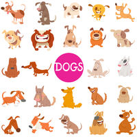 funny dog cartoon characters large set