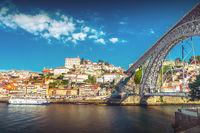 The iron bridge Ponte Dom Luís I over the river Douro in Porto
