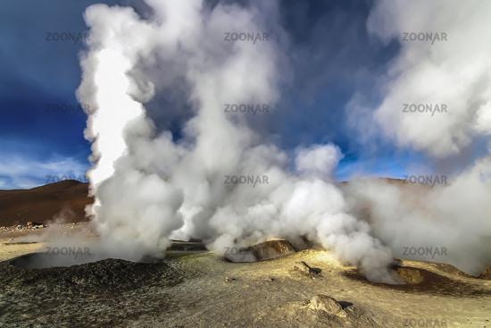 Hot steam pool geysers at Sol de Manana, Bolivia