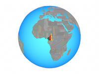 Cameroon with flag on globe isolated
