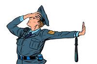 police officer shame denial gesture no