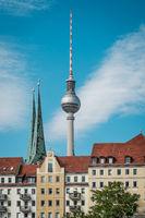 tv tower / Fernsehturm, most famous landmark in Berlin, Germany -
