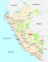 Republic of Peru road and national park map