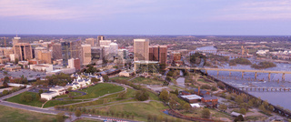Late Evening Light Downtown City Skyline Riverfront Park Richmond Virginia