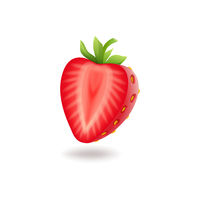 Realistic sweet half cut strawberry with green leaves, fresh red berrie, isolated on white background vector illustration.