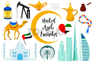 UAE United Arab Emirates flat icon set, cartoon style. Collection of arabic design elements with sail hotel, buildings, mosque, flag, oil. Vector illustration