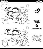 differences color book with hedgehog characters