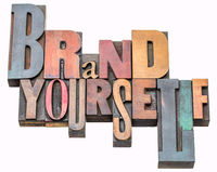 Brand yourself word abstract in wood type