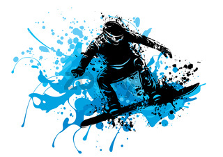 Silhouette of a snowboarder jumping. Vector illustration
