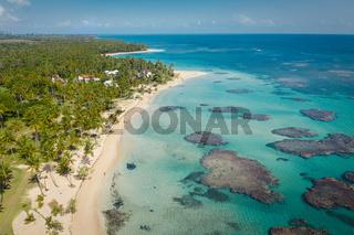 Samana peninsula beach aerial view