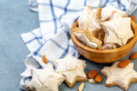 German cookies Zimtsterne with cinnamon and ginger.