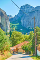 Kastraki village at the foot of Meteora rocks