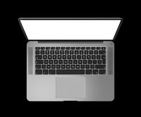 Open laptop top view with blank screen, isolated on black. Dark silver. 3D render