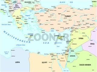 karte des östlichen Mittelmeers