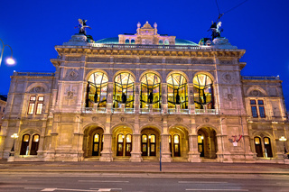 Vienna state Opera house square and architecture evening view