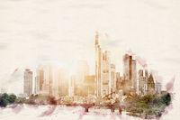 Watercolor Skyline Frankfurt