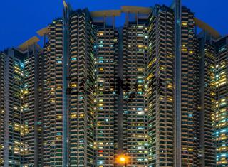 Hong Kong - South West - Tower Blocks at Night