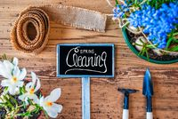 Spring Flowers, Sign, Calligraphy Spring Cleaning, Wooden Background