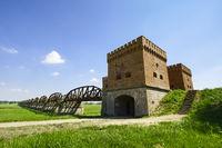 Ruins of former Elbe bridge Dömitz, Lower Saxony, Germany