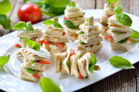 Finger food with tomato and mozzarella