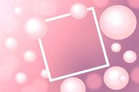 Pink Pearls around rectangular white frame on pink background