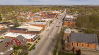 Aerial View Main Street Church and Buildings North Manchester indiana