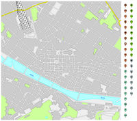 street map of downtown Florence with pin pointers and infrastructure icons