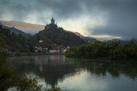 Cochem on a foggy morning, Germany, Europe
