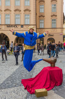 Prague Czech Republic - 19 October 2017: Street performer dressing as Genie and the Magic Lamp