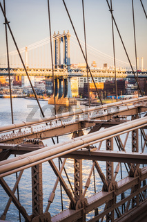 Sunset over the Manhattan Bridge from Brooklyn Bridge