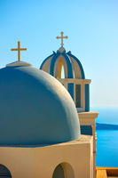 Domes with crosses of a Greek orthodox church