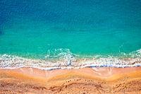 Idyllic Cote d'Azur sand beach aerial view