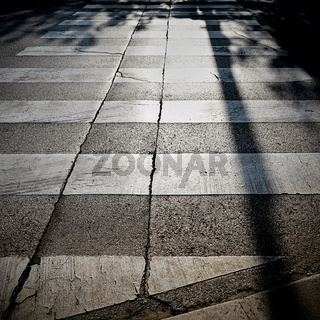 Zebrastreifen bei Gegenlicht