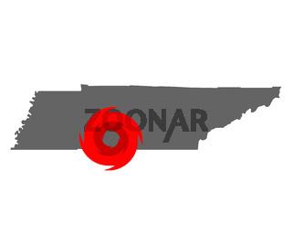 Karte von Tennessee und Hurrikansymbol - Map of Tennessee and hurricane symbol