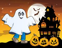 Boy in ghost costume theme image 1