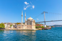 Ortakoy Mosque and view on the Bosphorus bridge in Istanbul