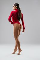 Fitness model in red body rearview