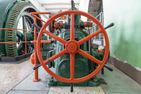 Control wheel of the turbine governor in an old power plant