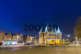 Amsterdam Netherlands, night city skyline at Nieuwmarkt (New Market)