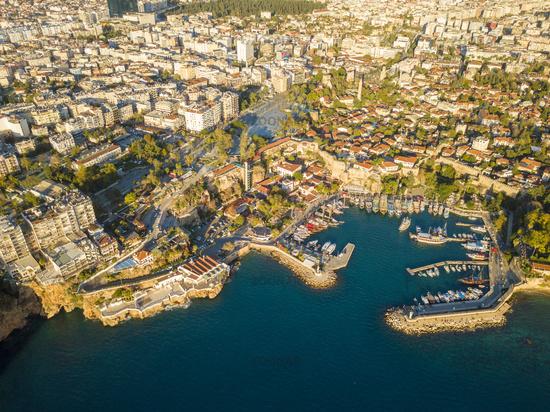 Drone View Kaleici Harbor Cityscape Antalya Turkey